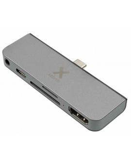 XC205: Adaptador de USB-C a 1xUSB-C 60W Pass Trough Charge Port + Lector SD/MicroSD+ 1xHDMI4K + 1xMinijack.