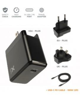 XA031: Cargador de corriente 1xUSB-C PD 65W + cable USB-C a USB-C de 2m (ref. CX2081) . Incluye adaptadores EU y UK.